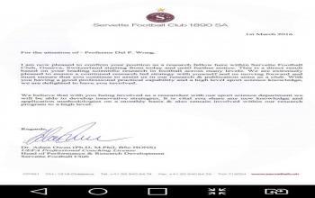 我院王培林教授被瑞士赛维特足球俱乐部聘为研究院士