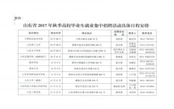 山东省2017年秋冬季高校毕业生就业集中招聘日程安排