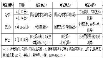 关于2018年体育单招统一考试山东体育学院考区相关安排的通知