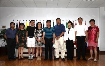 校长毛德伟在日照校区会见参加智慧康体促进高峰论坛的专家学者